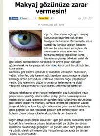 Vatan Gazetesi – Op. Dr. Özer Kavalcıoğlu – Göz Sağlığı