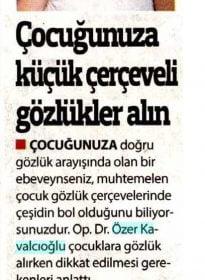 Güneş Gazetesi – Op.Dr. Özer Kavalcıoğlu – Çocuk Göz Sağlığı