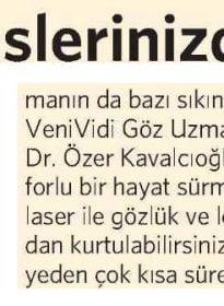 Vatan Gazetesi – Op. Dr. Özer Kavalcıoğlu – Excimer Laser