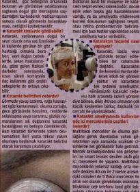 Posta Gazetesi – Op. Dr. Ahmet Gökdere – Katarakt