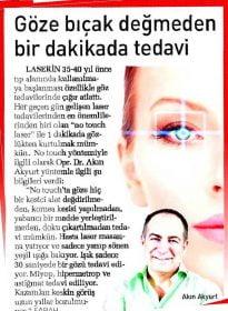 Sabah Gazetesi – Op. Dr. Akın Akyurt – No Touch Laser