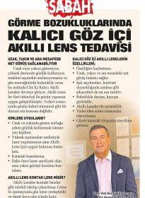 Sabah Gazetesi – Op. Dr. Akın Akyurt – Akıllı Lens Tedavisi
