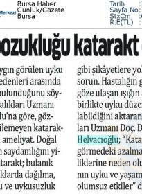 Bursa Haber – Doc.Dr. Fırat Helvacıoğlu – Uyku Bozukluğu Katarakt Olabilir