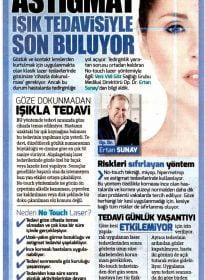Sözcü Gazetesi – Op. Dr. Ertan Sunay – No Touch Laser