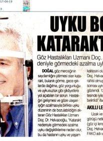 İstiklal Gazetesi – Doc.Dr. Fırat Helvacıoğlu – Uyku Bozukluğu Katarakt Habercisi