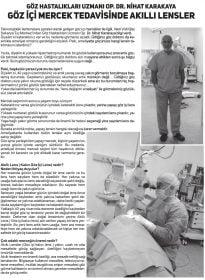Sakarya Yeni Çark Europe Dergisi – Op. Dr. Nihat Karakaya – Akıllı Lensler