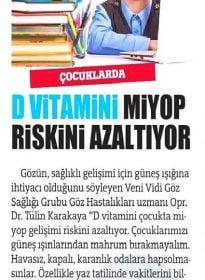 Türkiye Gazetesi – Op. Dr. Tülin Karakaya – Göz Sağlığı