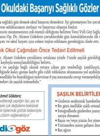 Op. Dr. Ahmet Gökdere – Milliyet Gazetesi – Okul Öncesi Göz Muayenesi ve Çocuklarda Şaşılık