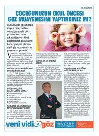 Op. Dr. Sadi Sızmaz – Sabah Gazetesi Ankara – Okul Öncesi Göz Muayenesi
