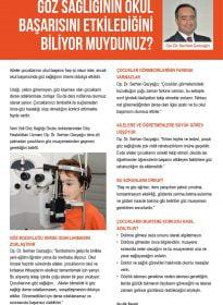 Op. Dr. Serhan Gazyağcı – Posta Gazetesi Ankara – Göz Sağlığının Okul Başarısına Etkisi